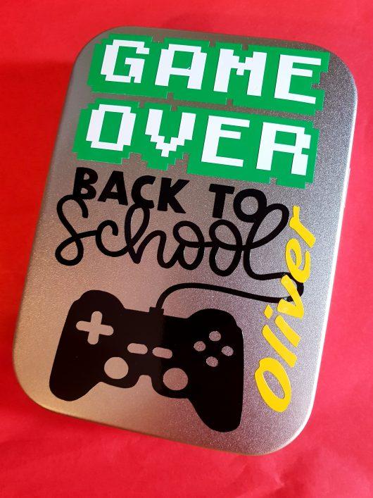 back to school tin